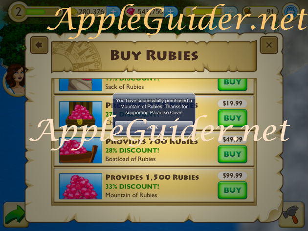 Tap Paradise Cove hack in-app purchase